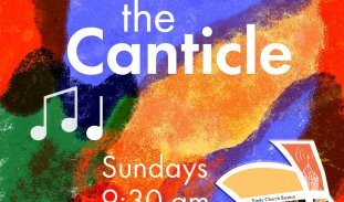 Encounter the Canticle • Sunday, 11/29 • 9:30 am • Text and music notes over a colorful background