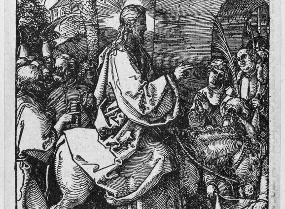 Woodcut by Durer of Christ entering Jerusalem on a donkey.