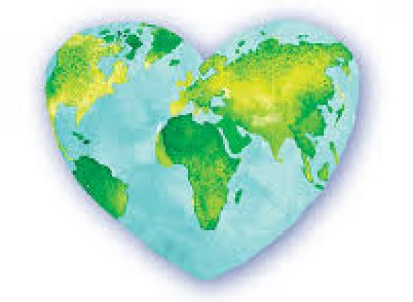 An earth in the shape of a heart