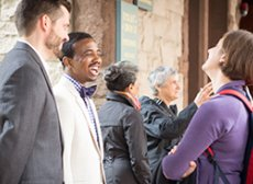 Parishioners speaking on the Clarendon Street porch.