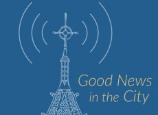 """The logo for Good News in the City features the Trinity tower with sound waves radiating from it, with the text """"Good News in the City."""""""
