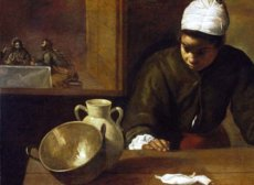 """""""Kitchen Maid with Supper at Emmaus"""" – Velazquez (1599-1660)"""