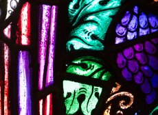 A stained glass detail showing purple grapes and vivid green leaves. There is a yellow vine curl as well as purple and red folds of stained glass.