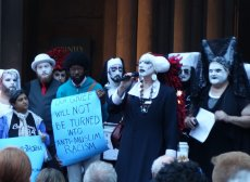 The Boston Sisters of Perpetual Indulgence lead a vigil on the West Porch of Trinity.