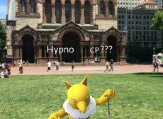 The front porch of Trinity Church, with a digital Pokemon character hovering in front of it.