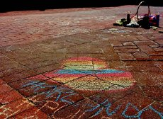 Chalk Mural for Orlando in front of Trinity