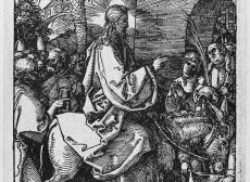 Woodcut by Durer of Christ entering Jerusalem on a donkey.