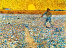 painting by van gogh of a man sowing seeds under a bright yellow sun.