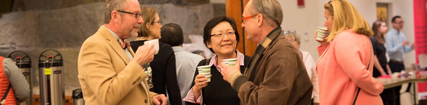 Parishioners chatting at Coffee in the Commons.