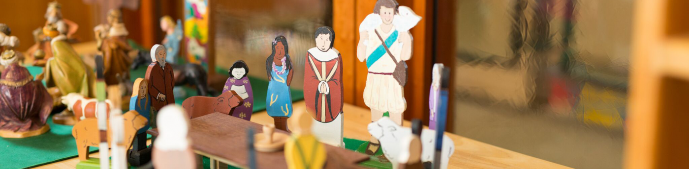 Close-up of religious figurines in Church School classroom